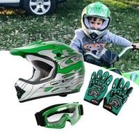 DOT Motorcycle Youth Kids Child helmet full face motocross casco moto Off-road Street Goggles Gloves Bike helmets ATV capacete 6