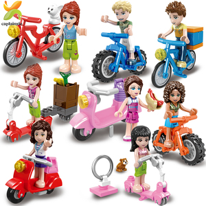 Image 2 - Princess Girls Friends Doll Cycling Scooter Team Figures Series Building Blocks Girl Toys For Children Gift