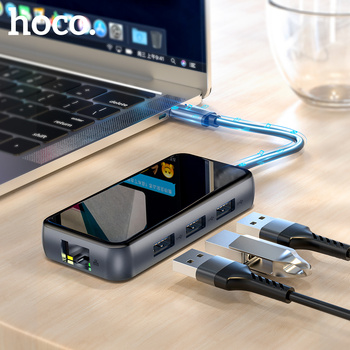 цена на HOCO USB C HUB Type C to Multi USB 3.0 HUB HDMI Adapter USB Splitter for MacBook Pro iMacPC 3 Dock RJ45 Splitter Port Type C HUB