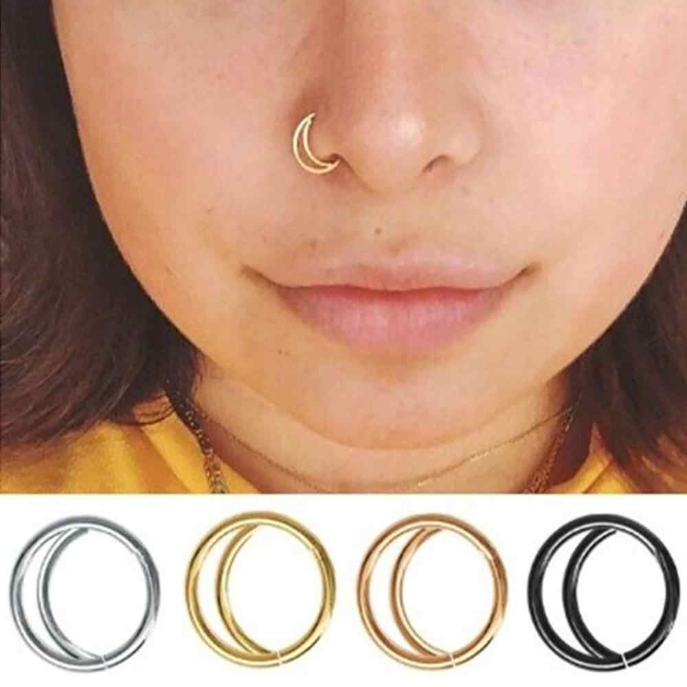 Women Stainless Steel Nostril Nose Hoop Stud Rings Clip On Nose