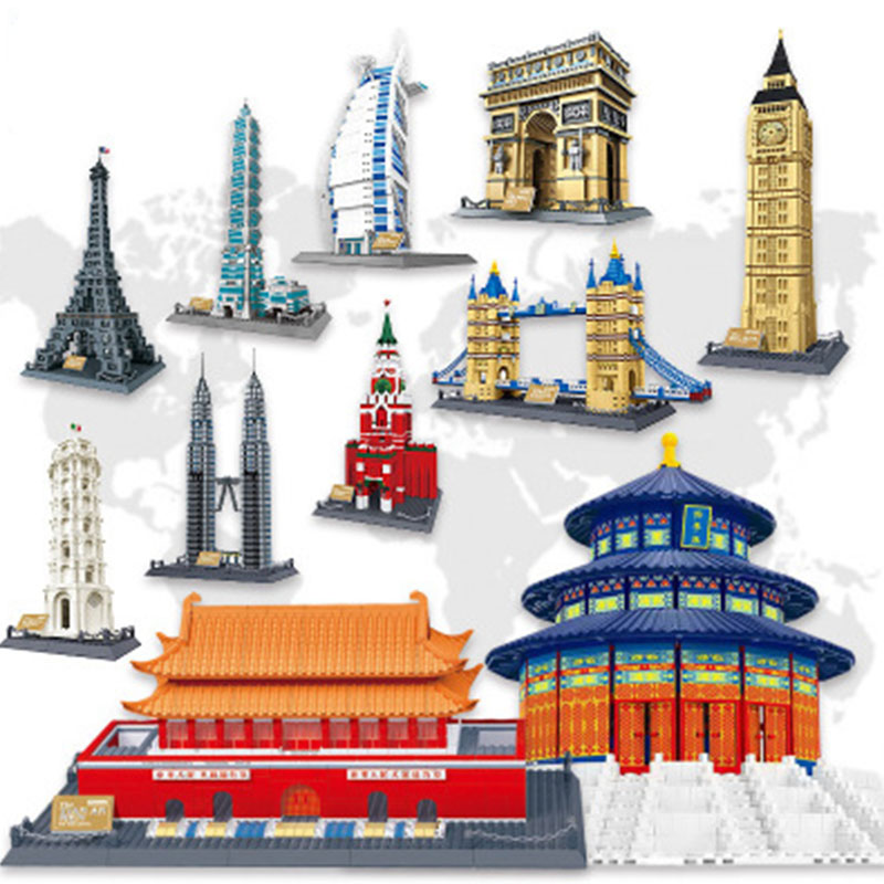 WanGe city 2019 Lepining Architecture Taj Mahal London Paris town bridge building blocks children assemble bricks toys gifts(China)