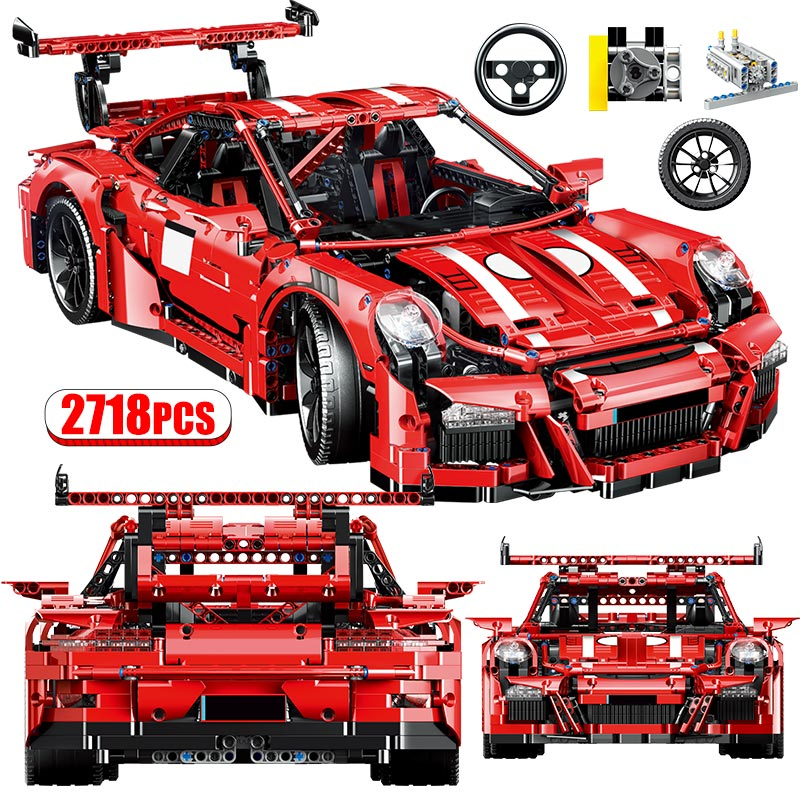 1:10 City Technic Mechanical Vehicle Racing Car MOC Building Blocks Model DIY Creator Equation Car Mini Bricks Toys For Kids