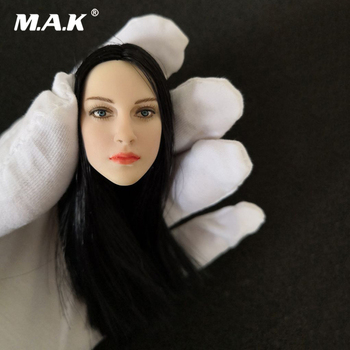 1/6 Scale Europe Girl Female Head Pale Skin Head Sculpt with Black Mid-distribution Hair  Model for 12'' Body