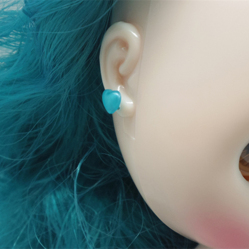 5 Pairs Earrings Factory Blyth Doll Heart Shaped And Round Sequin Stud Earring Shining Decorate For Your Doll Accessories