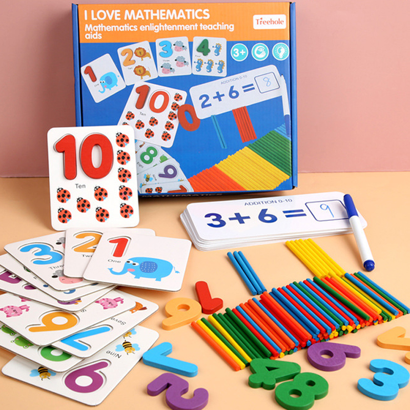 Kids Montessori Toys Educational Wooden Toys Children Preschool Puzzle Math Toys Multifunctional Counting Alphabet Board Game