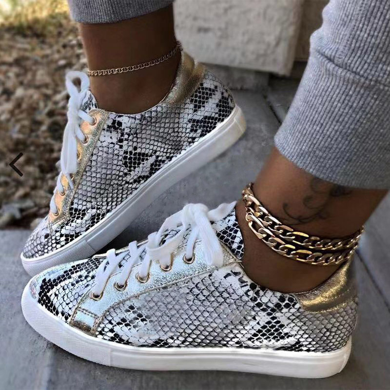 Women Snake Printing PU Leather Vulcanized Shoes Lace Up Female Sneakers Fashion 2019 Platform Woman Shoes Walking Footwear