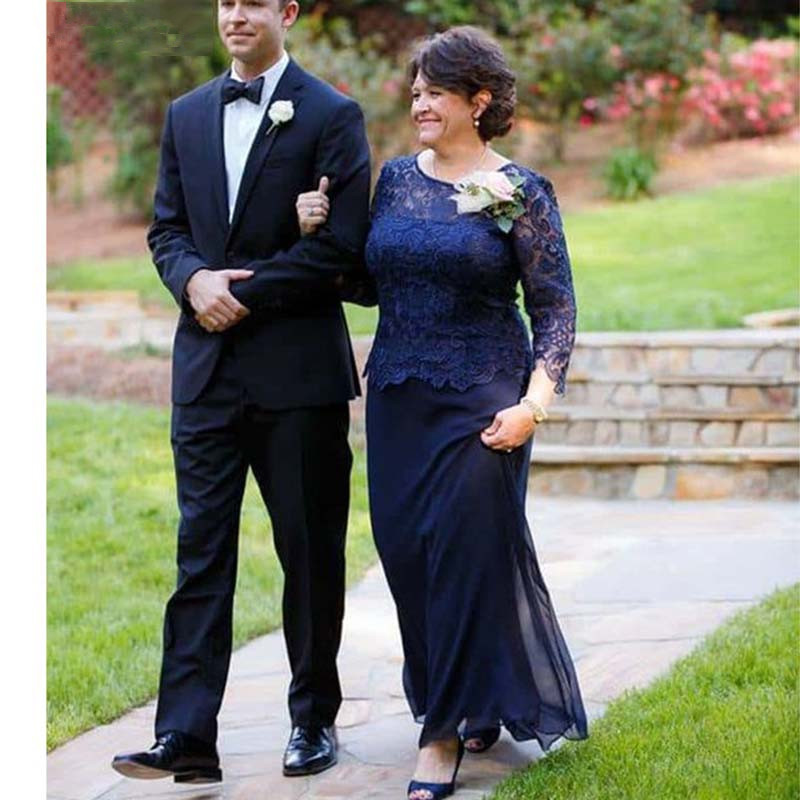 Blue Mother Of The Bride Dresses A-line Long Sleeves Chiffon Lace Plus Size Long Groom Mother Dresses For Weddings