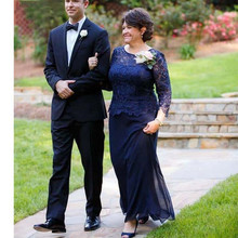 Mother-Of-The-Bride-Dresses Lace Long-Sleeves Chiffon Weddings Blue Plus-Size Groom A-Line