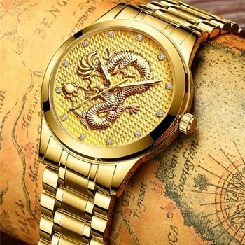Luxury Gold Diamond Mens Quartz Wrist Watches Business Casual Male Stainless Steel Watch Fashion Men Black Clocks Analog Watches