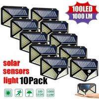 1/2/4/8/10PCS 100 LED lampada da parete a energia solare con sensore di movimento lampada da giardino impermeabile