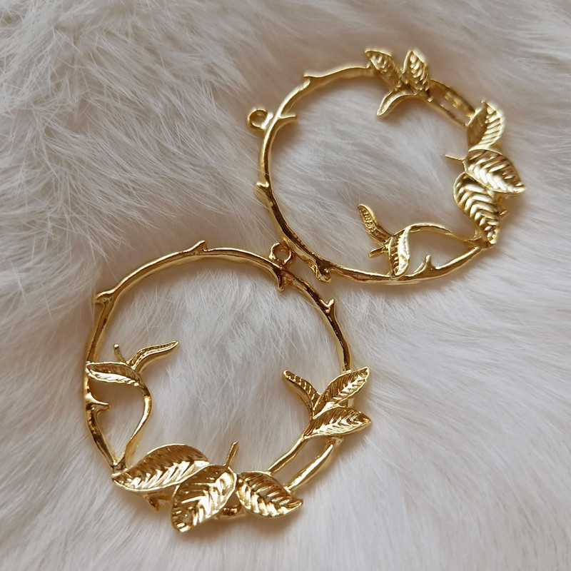 Leaf Circle Open Back Bezel Openwork Leaves Charm Round Floral Deco Frame For UV Resin Filling Jewelry Making Jewelry Bezels