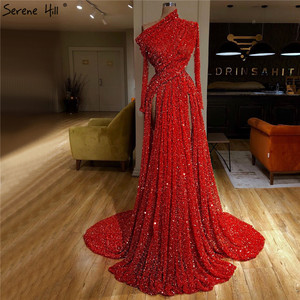 Image 1 - Dubai Red Mermaid Luxury Sexy Evening Dresses 2020 Oblique Collar Long Sleeves Sequins Evening Gowns Serene Hill LA70294