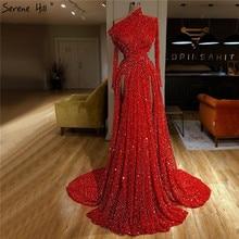 Dubaj czerwona syrenka luksusowe Sexy suknie wieczorowe 2020 ukośny kołnierzyk długie rękawy cekiny suknie wieczorowe Serene Hill LA70294