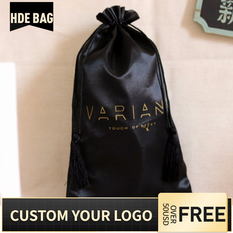 50p Custom Logo Satin Hair Drawstring Bags For Packaging  Jewelry/Makeup/Gift/Wedding/Party/ Shoes Storage Bag Silk Cloth Pouch