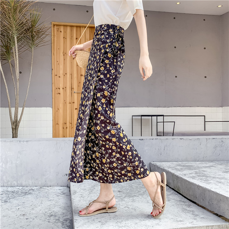 2020 New Women High Waist Floral Skirt Elegant Midi Long Skirts Wrap Dots Chiffon Skirt Korean Fashion