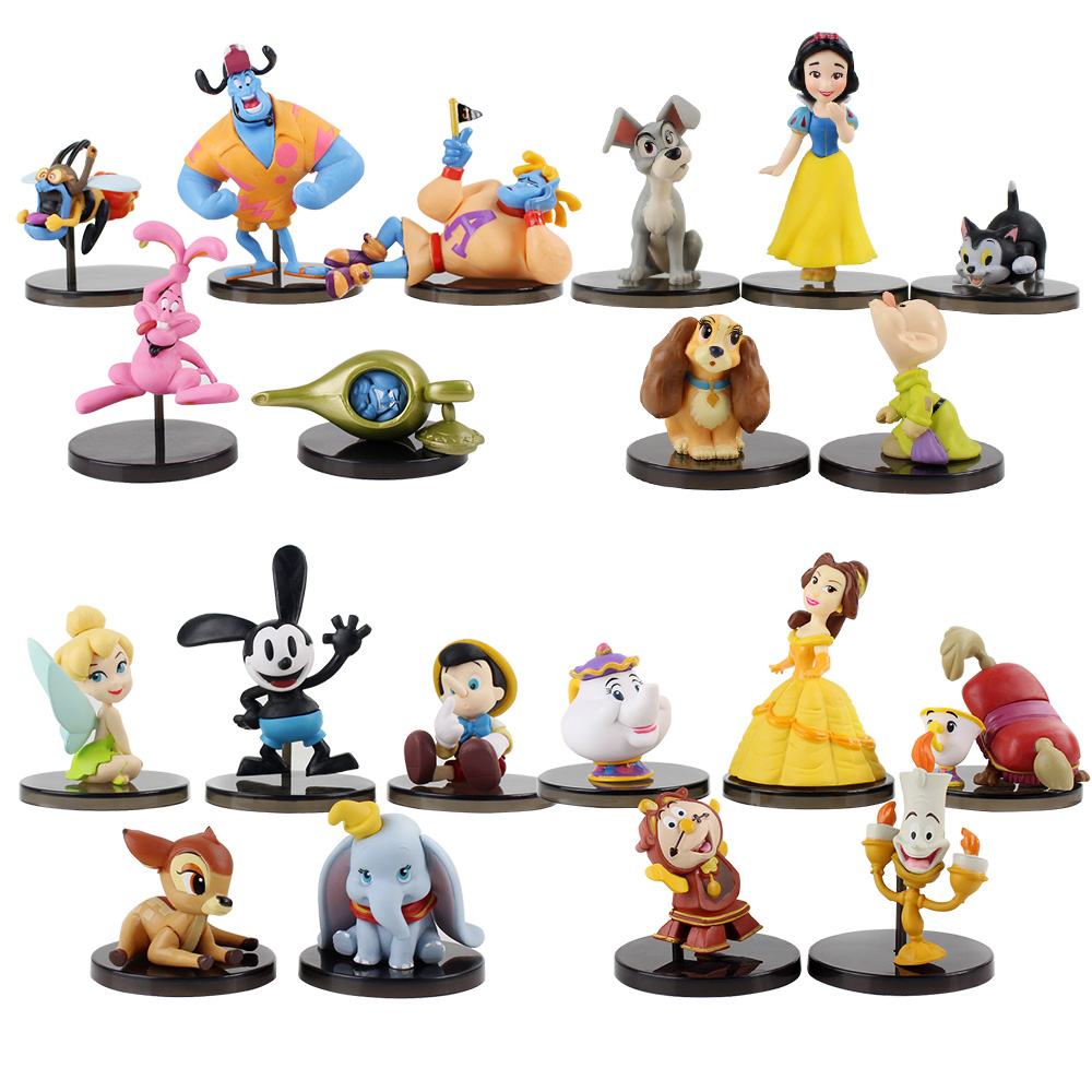 5pcs/set WCF Classic Characters Snow White Princess Dopey Tramp Figaro Peter Pan Tinkerbell Aladdin Mini Figures Toys