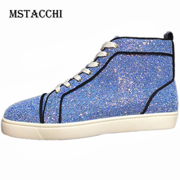 MStacchi New Sequins Cool Men Sneakers Genuine Leather High Gang Breathable Simple Male  Casual Shoes Outdoor Walking Men Shoes