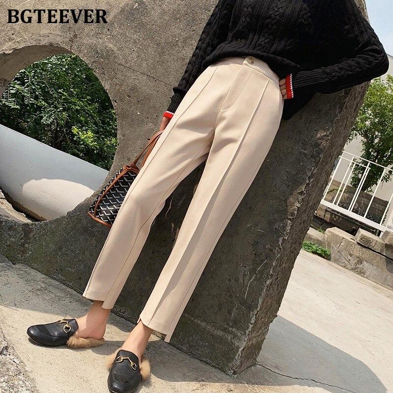 BGTEEVER Winter Thicken Women Woolen Pants Plus Size Warm Pencil Pants Female 2019 OL Style High Waist Trousers Capris Femme