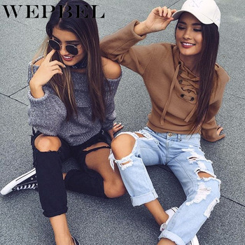WEPBEL Autumn and Winter O-Neck Off-Shoulder Pullover Knitted Sweater Women's Fashion Long-Sleeved Loose Bandage Sweater beige cable pattern off shoulder pullover sweater