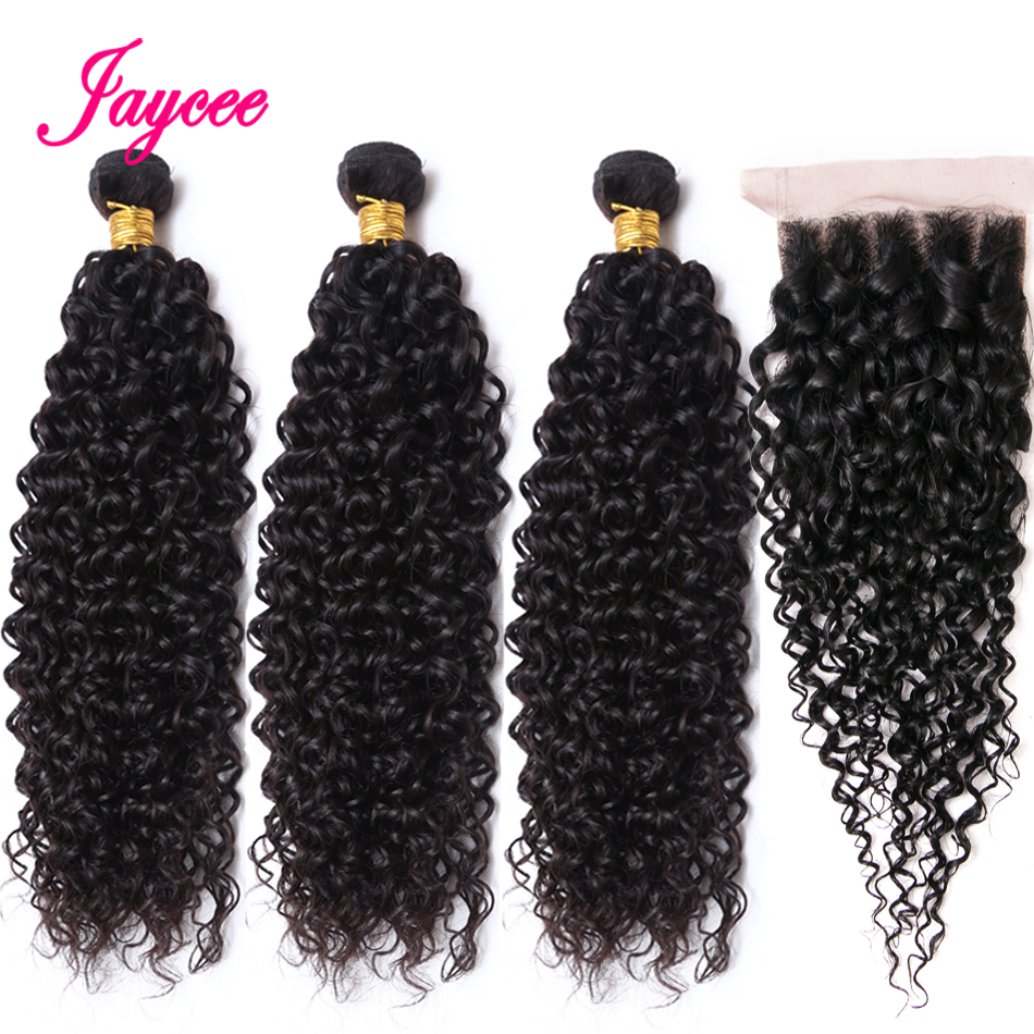 Jaycee Afro Kinky Curly Bundles With Closure 4*4 Mongolian Hair Weave Bundles With Closure Tissage Cheveux Naturel Court