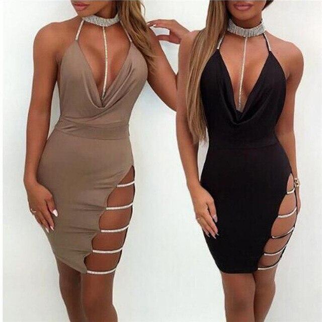 New Women Sexy Halter V Neck Night Club Dress Female Solid Sleeveless Side Slip Diamonds Chic Mini Dress Ladies Clubwear Party 2