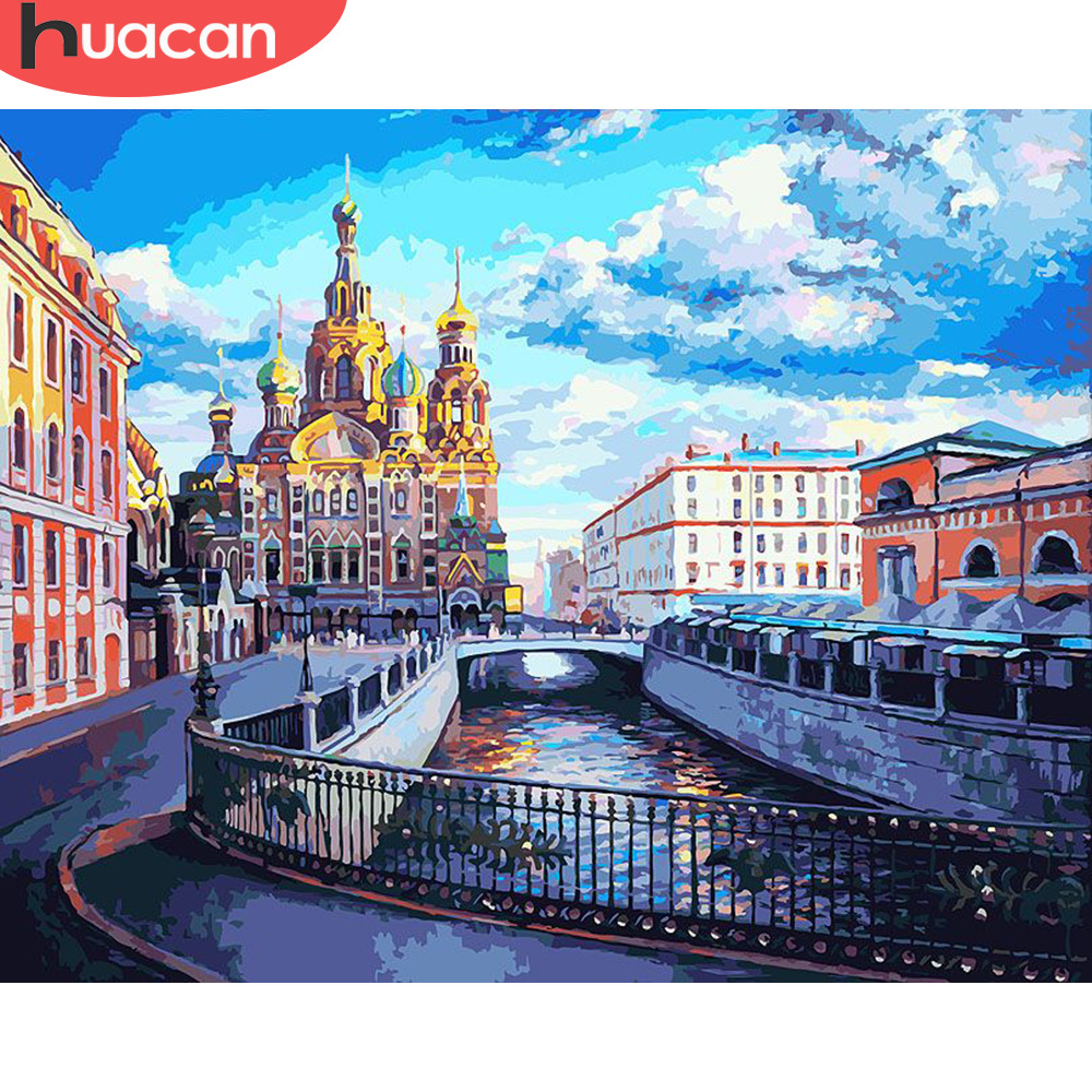 HUACAN Painting By Numbers City Scenery HandPainted Kits Drawing Canvas DIY Oil Pictures By Numbers Landscape Home Decor Gift