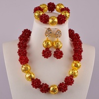Wine Crystal Beads Ball Beaded African Necklace Jewelry Set Nigerian Beads Sets