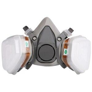 Image 2 - Maska gazowa przemysłowe pół twarzy malarstwo rozpylanie Respirator z okulary ochronne garnitur bezpieczeństwa pracy filtr wymienić 3M 6200