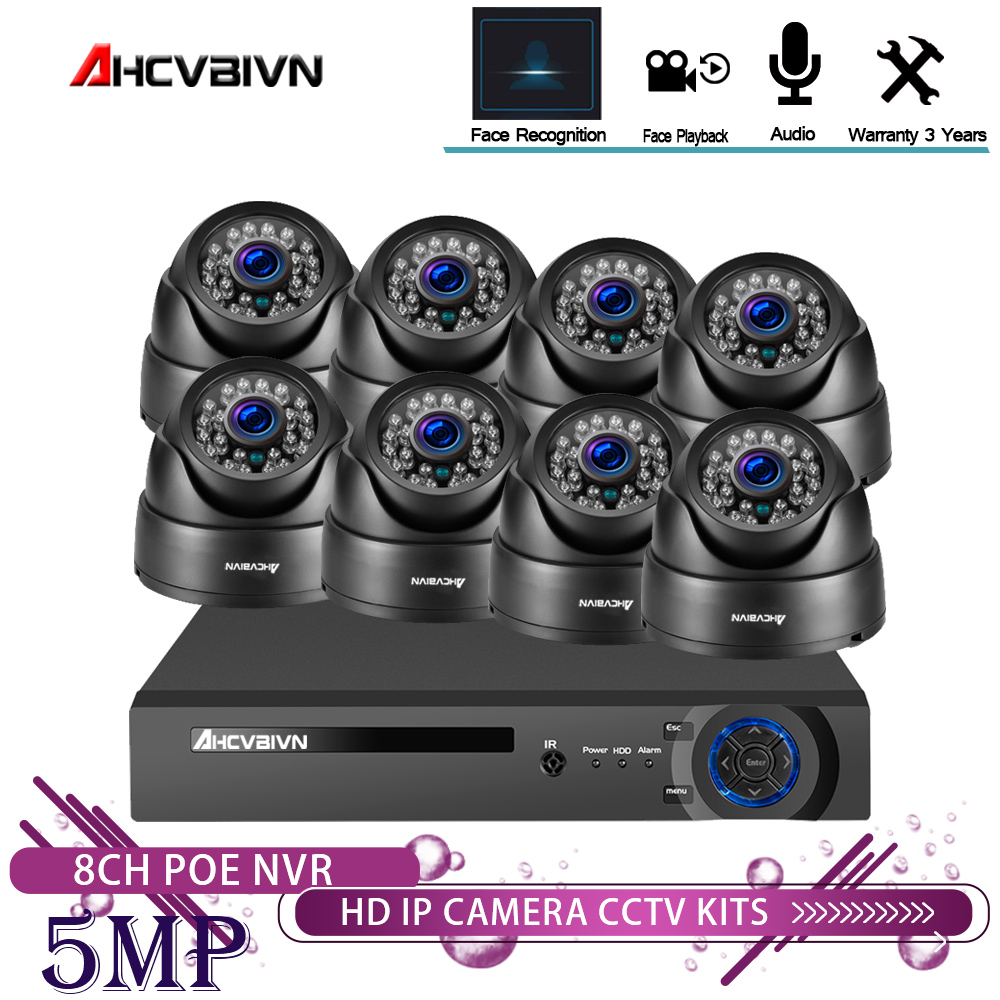 Face Recognition 8CH POE NVR CCTV 5.0MP System 5MP:Hi3516EV300 PoE IP Camera IR Night Vision Video Security Surveillance Kits