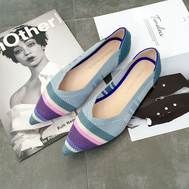 Womens Flats knitted mixed color moccasins breathable cozy work shoes loafer brief slip-on fashion ladies flats light driving