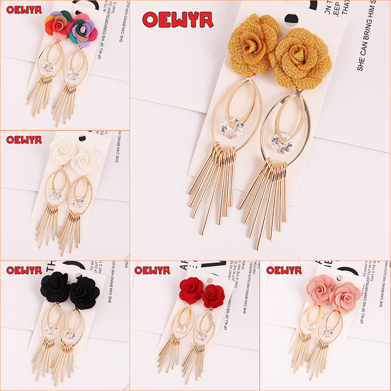 OEWYR 2019 Korean Manual Colorful Women Earrings Flowers Bohemian Long With Stones Big Fancy  Crystal Earrings Fashion Jewelry