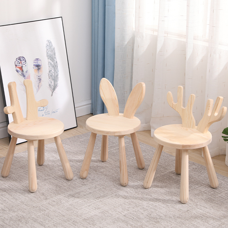 Solid Wood Cartoon Stool   Animal Small Sofa Stool  Household Furniture Solid Wood Portable Small  Shoe Stool