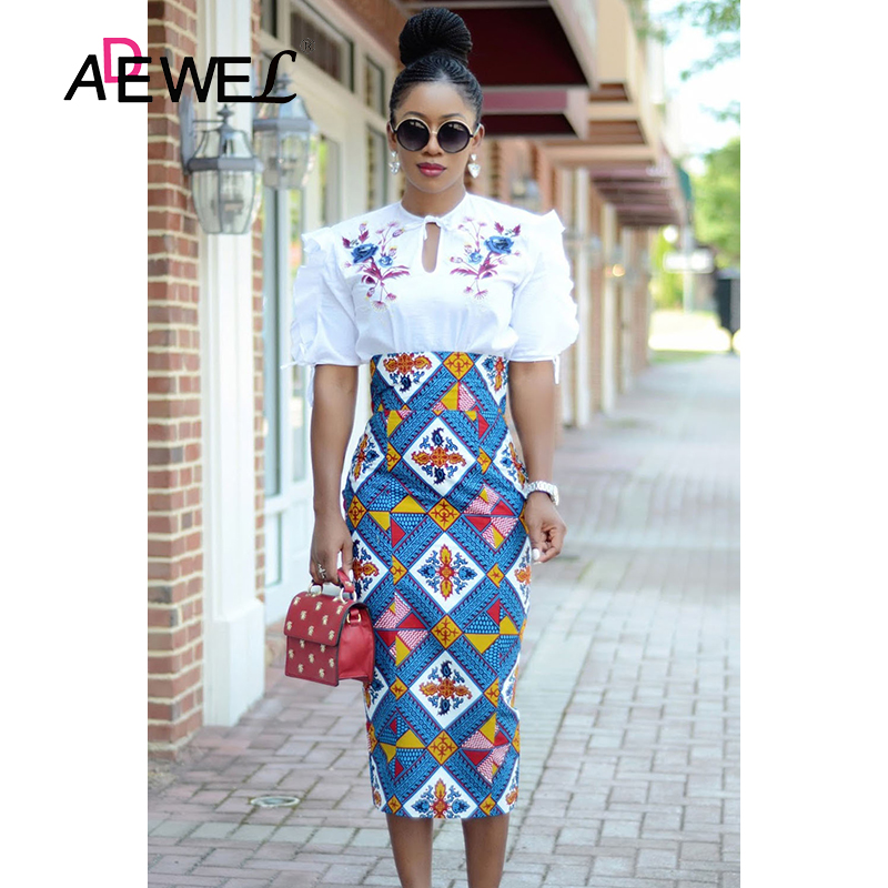 Image 4 - ADEWEL 2019 Plus Size Bluish African Print High Waist Bodycon Pencil Skirt Women Sexy Stripe Pencil Midi Long Skirts Female XXL-in Skirts from Women's Clothing