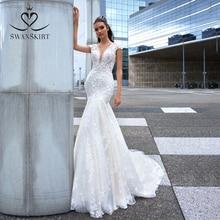Swanskirt Fee 3D Blumen Meerjungfrau Hochzeit Kleid 2020 V ausschnitt Appliques Backless Illusion Prinzessin Braut Vestido de novia F265
