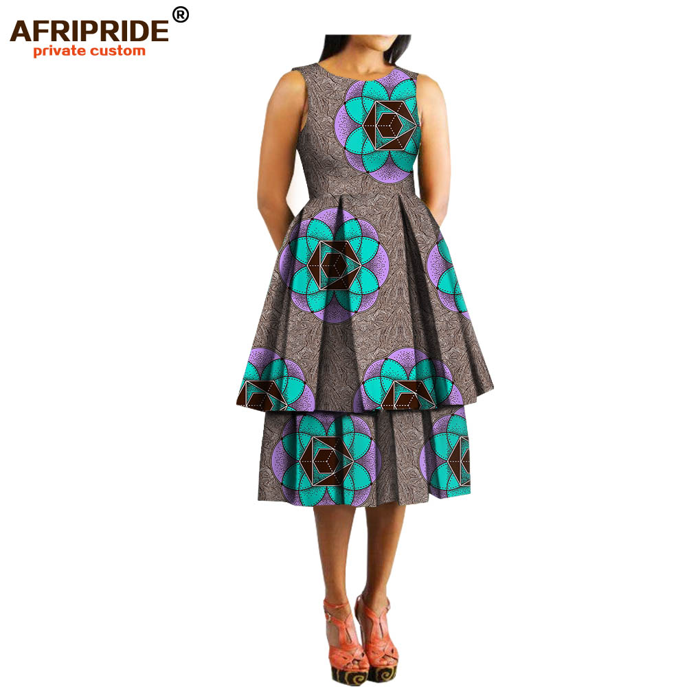 spring casual women african print dress AFRIPRIDE sleeveless o-neck knee-length A-line dress double layer bottom A1825034