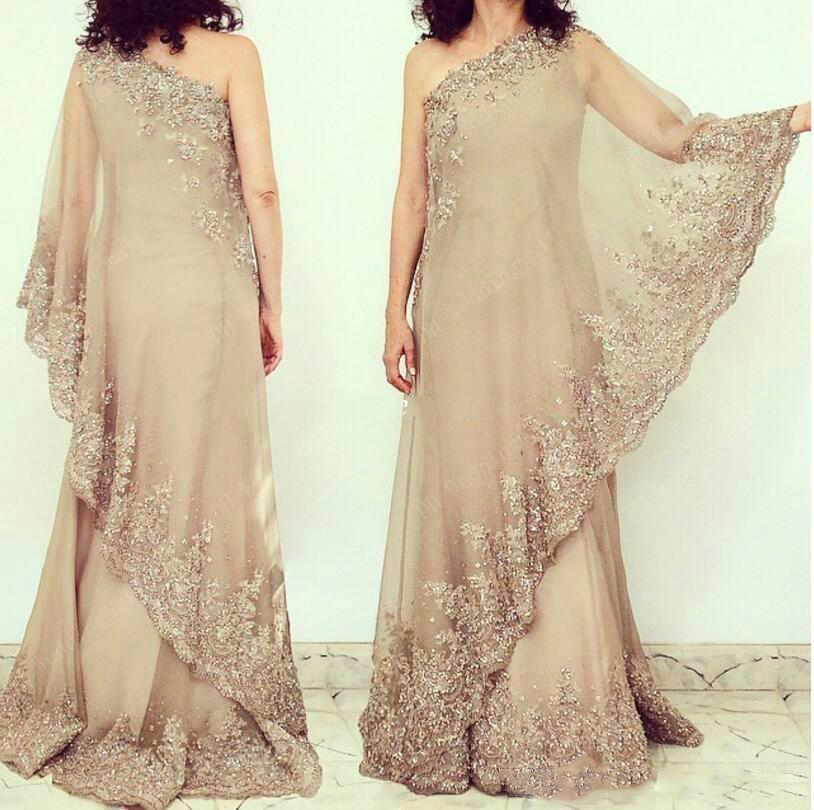 Elegant One Shoulder Chiffon Mother Of The Bride Dress Sequins Applique Party Wedding Guest Dress Custom Made