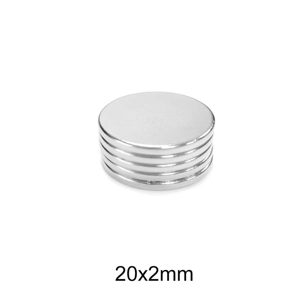 5 ~ 100 stücke 20x2mm Leistungsstarke Magnetische magnet Starke 20mm x 2mm Permanent Neodym Magneten disc 20x2mm Runde Magnet blatt 20*2 N35