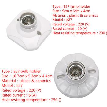E27 ceramika światła LED uchwyt żarówki okrągłe gniazdo baza wiszące gniazdo lampy podstawa 6A 10A 220 V tanie i dobre opinie CN (pochodzenie) 1yeas led bulb e27 base led e27 base