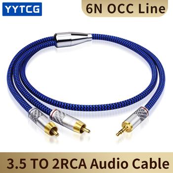 YYTCG Hifi Audio kabel złącze Mini Jack 3 5mm do 2 RCA do samochodu AUX do słuchawek na PC Mobile 1 8 #8222 3 5 na podwójny RCA kabel głośnikowy 1M 2M 3M 5M tanie i dobre opinie Mężczyzna Mężczyzna Rohs G2-3 5-2RCA CN (pochodzenie) Przedłużacz audio Pakiet 1 KARTONOWE PUDEŁKO PLECIONY Brak