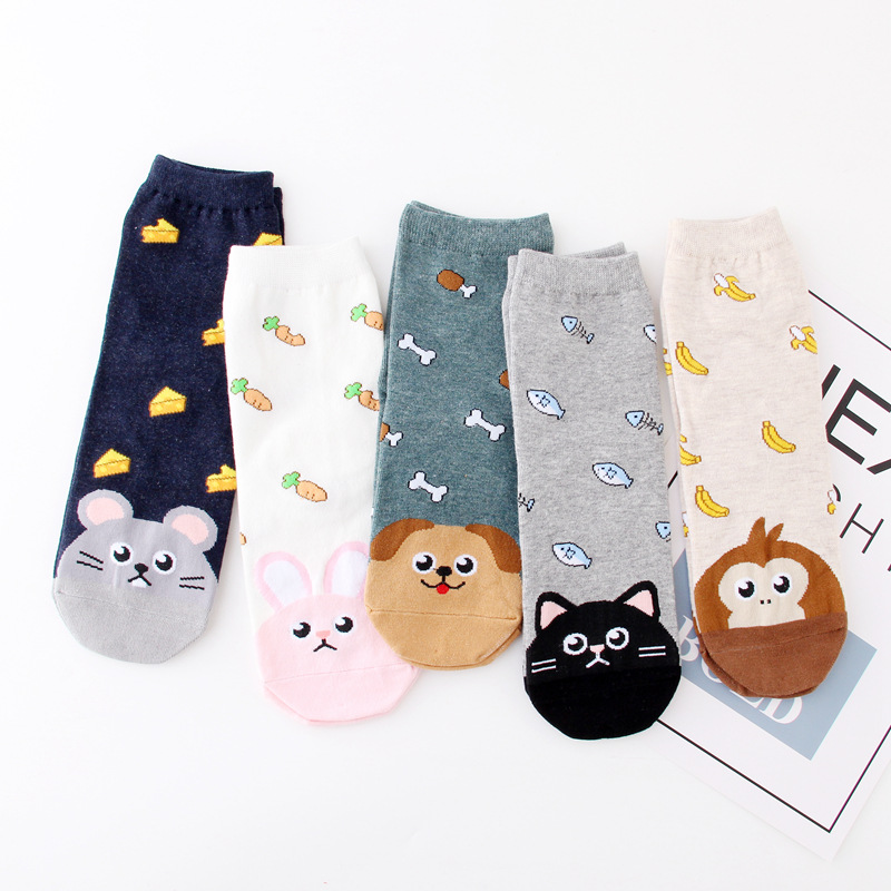 2019 Kids Socks Fashion Girls Boys Socks Cartoon Children Short Socks Cat Dog Kids Hosiery Students Socks 6-12Y Meias