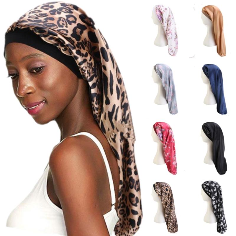 Fashion Women Printed Flower Elastic Bonnet Sleep Hair Turban Cap Long Cylindrical Chemo Cancer Hat Muslim India Headwear