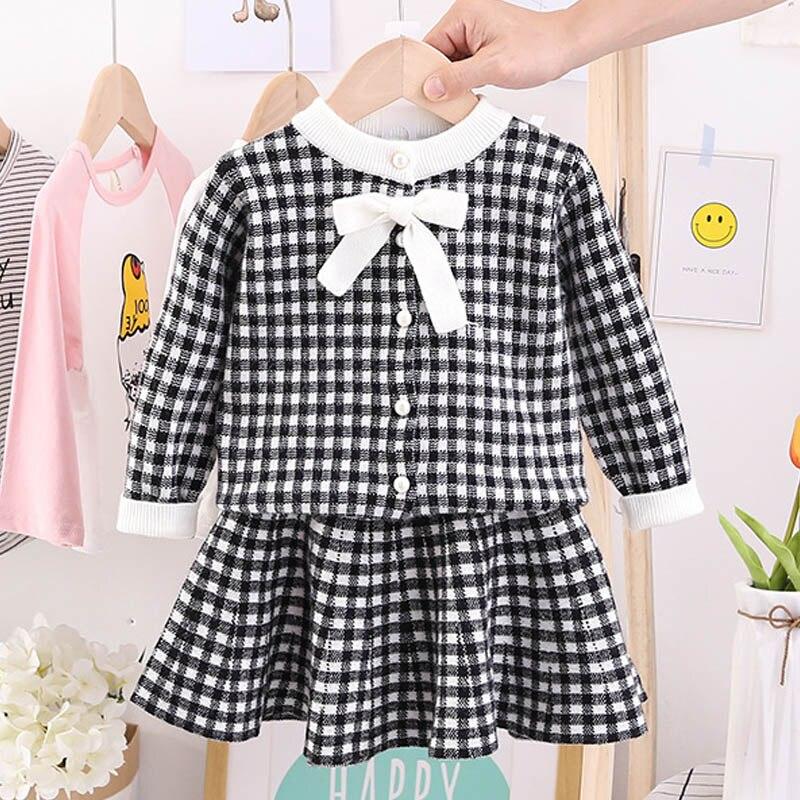 Autumn Winter Plaid print Sweater Dress Set Casual Girls Clothing Sets Girls Clothes Suit Children Clothes Kids Clothing Sets 14