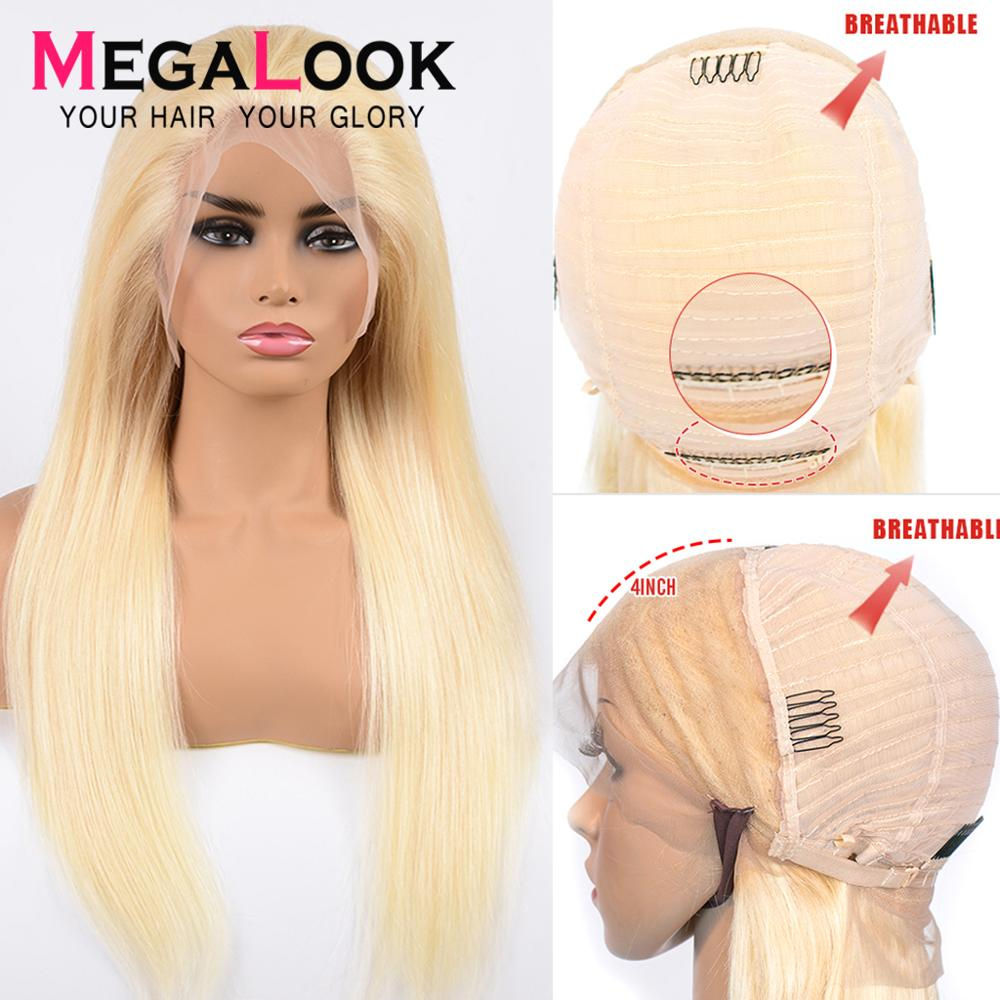 #613 Honey Blond Lace Front Wig  Straight Human Hair Wig Pre Plucked With Baby Hair 10-30 Inch 613 Wig Remy Hair