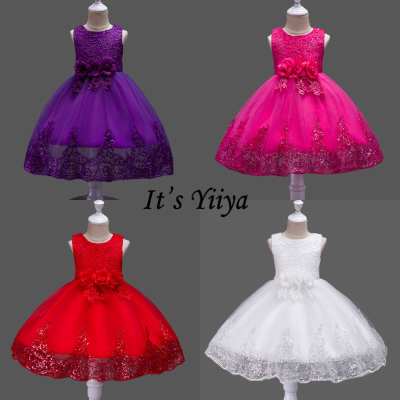 It's YiiYa Flower Girl Dress Bow Lace Elegant Appliques Sequined Christmas Ball Gowns First Communion Dresses For Girls 575