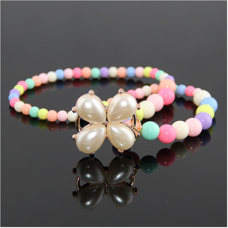 Pearly Beads Toys For Children Round Beaded Necklace Girl Gift Party Accessories Handmade Lacing Waving Toy New
