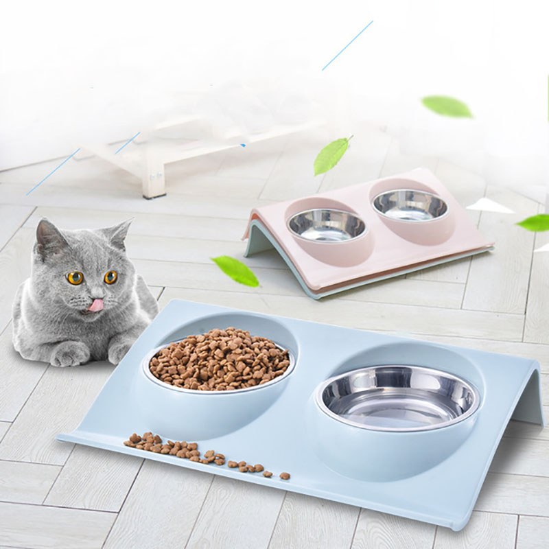 S/Large Size Double Dog Bowl  Puppy Cats Pet Feeding Station Stainless Steel Food Water Bowls Feeder Solution For For Dogs Cat S