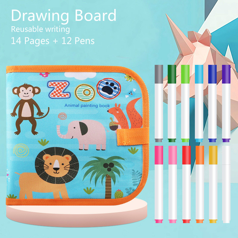 Baby Toys Drawing Toys Drawing Board Book Magic Pen Painting Coloring Book Blackboard Painting Kids Learning Educational Toys