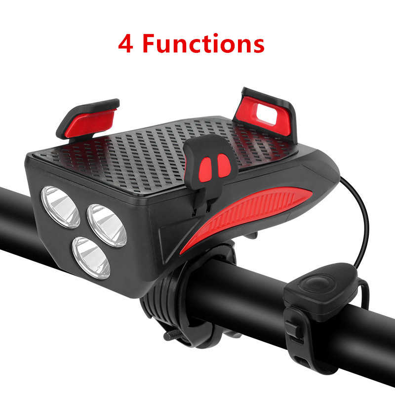 Bike Front Light Handlebar Phone Holder 4000 mah Power Bank Electric Horn MTB Road Bicycle 4 Functions Cycle Cycling Accessories