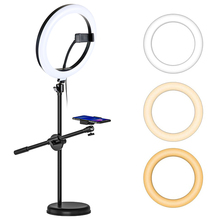 Anillo de luz LED regulable con monópode, soporte de teléfono para nail Art, vídeo en vivo, fotografía, iluminación