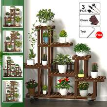 Мульти-ярусный деревянный стенд для цветов, полка для растений, цветочный горшок, ветряная мельница, держатель для растений, дисплей, открытый декор, набор инструментов для посадки
